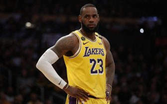 LOS ANGELES, CALIFORNIA - FEBRUARY 25: LeBron James #23 of the Los Angeles Lakers stands on the court in a game against the New Orleans Pelicans during the first half at Staples Center on February 25, 2020 in Los Angeles, California. NOTE TO USER: User expressly acknowledges and agrees that, by downloading and or using this Photograph, user is consenting to the terms and conditions of the Getty Images License Agreement. (Photo by Katelyn Mulcahy/Getty Images)