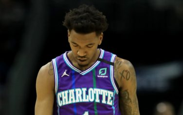 CHARLOTTE, NORTH CAROLINA - FEBRUARY 22: Malik Monk #1 of the Charlotte Hornets reacts after a play against the Brooklyn Nets] during their game at Spectrum Center on February 22, 2020 in Charlotte, North Carolina. NOTE TO USER: User expressly acknowledges and agrees that, by downloading and or using this photograph, User is consenting to the terms and conditions of the Getty Images License Agreement. (Photo by Streeter Lecka/Getty Images)