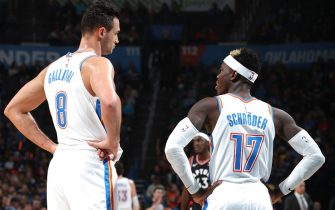 OKLAHOMA CITY, OK - JANUARY 15: Danilo Gallinari #8 of the Oklahoma City Thunder and Dennis Schroder #17 of the Oklahoma City Thunder talk during game against the Toronto Raptors on January 15, 2020 at Chesapeake Energy Arena in Oklahoma City, Oklahoma. NOTE TO USER: User expressly acknowledges and agrees that, by downloading and or using this photograph, User is consenting to the terms and conditions of the Getty Images License Agreement. Mandatory Copyright Notice: Copyright 2020 NBAE (Photo by Zach Beeker/NBAE via Getty Images)