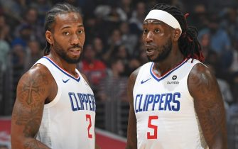LOS ANGELES, CA - OCTOBER 28: Kawhi Leonard #2 and Montrezl Harrell #5 of the LA Clippers talk against the Charlotte Hornets on October 28, 2019 at STAPLES Center in Los Angeles, California. NOTE TO USER: User expressly acknowledges and agrees that, by downloading and/or using this Photograph, user is consenting to the terms and conditions of the Getty Images License Agreement. Mandatory Copyright Notice: Copyright 2019 NBAE (Photo by Andrew D. Bernstein/NBAE via Getty Images)