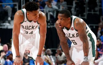 DETROIT, MI - APRIL 22: Giannis Antetokounmpo #34 and Eric Bledsoe #6 of the Milwaukee Bucks talk during Game Four of Round One of the 2019 NBA Playoffs  against the Detroit Pistonson April 22, 2019 at Little Caesars Arena in Detroit, Michigan. NOTE TO USER: User expressly acknowledges and agrees that, by downloading and/or using this photograph, user is consenting to the terms and conditions of the Getty Images License Agreement. Mandatory Copyright Notice: Copyright 2019 NBAE (Photo by Brian Sevald/NBAE via Getty Images)
