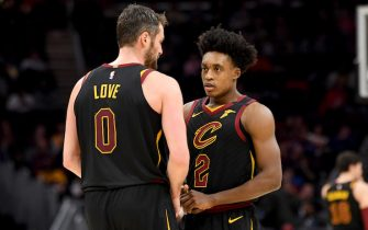 CLEVELAND, OHIO - FEBRUARY 26: Kevin Love #0 talks with Collin Sexton #2 of the Cleveland Cavaliers during the first half at Rocket Mortgage Fieldhouse on February 26, 2020 in Cleveland, Ohio. NOTE TO USER: User expressly acknowledges and agrees that, by downloading and/or using this photograph, user is consenting to the terms and conditions of the Getty Images License Agreement. (Photo by Jason Miller/Getty Images)