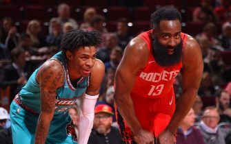HOUSTON, TX - FEBRUARY 26 : Ja Morant #12 of the Memphis Grizzlies and James Harden #13 of the Houston Rockets smile during the game on February 26, 2020 at the Toyota Center in Houston, Texas. NOTE TO USER: User expressly acknowledges and agrees that, by downloading and or using this photograph, User is consenting to the terms and conditions of the Getty Images License Agreement. Mandatory Copyright Notice: Copyright 2020 NBAE (Photo by Bill Baptist/NBAE via Getty Images)