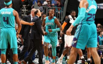 CHARLOTTE, NC - FEBRUARY 26: Terry Rozier #3 of the Charlotte Hornets smiles during the game against the New York Knicks on February 26, 2020 at Spectrum Center in Charlotte, North Carolina. NOTE TO USER: User expressly acknowledges and agrees that, by downloading and or using this photograph, User is consenting to the terms and conditions of the Getty Images License Agreement. Mandatory Copyright Notice: Copyright 2020 NBAE (Photo by Kent Smith/NBAE via Getty Images)