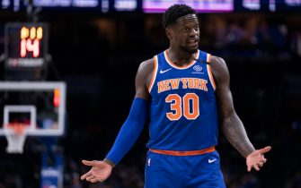 PHILADELPHIA, PA - FEBRUARY 27: Julius Randle #30 of the New York Knicks reacts against the Philadelphia 76ers in the second quarter at the Wells Fargo Center on February 27, 2020 in Philadelphia, Pennsylvania. NOTE TO USER: User expressly acknowledges and agrees that, by downloading and/or using this photograph, user is consenting to the terms and conditions of the Getty Images License Agreement. (Photo by Mitchell Leff/Getty Images)