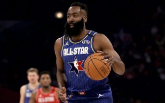 CHICAGO, ILLINOIS - FEBRUARY 16: James Harden #2 of Team LeBron dribbles the ball in the third quarter against Team Giannis during the 69th NBA All-Star Game at the United Center on February 16, 2020 in Chicago, Illinois. NOTE TO USER: User expressly acknowledges and agrees that, by downloading and or using this photograph, User is consenting to the terms and conditions of the Getty Images License Agreement. (Photo by Jonathan Daniel/Getty Images)