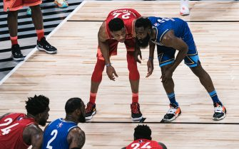 CHICAGO, ILLINOIS - FEBRUARY 16: James Harden #2 of Team LeBron plays defense against Giannis Antetokounmpo #24 of Team Giannis during the 69th NBA All-Star Game on February 16, 2020 at the United Center in Chicago, Illinois.  (Photo by Lampson Yip - Clicks Images/Getty Images)