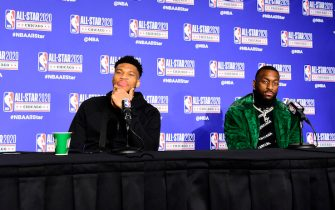 CHICAGO, IL - FEBRUARY 16: Giannis Antetokounmpo and Kemba Walker of Team Giannis speaks to the media during the 69th NBA All-Star Game as part of 2020 NBA All-Star Weekend on February 16, 2020 at United Center in Chicago, Illinois. NOTE TO USER: User expressly acknowledges and agrees that, by downloading and/or using this Photograph, user is consenting to the terms and conditions of the Getty Images License Agreement. Mandatory Copyright Notice: Copyright 2020 NBAE (Photo by Tom O'Connor/NBAE via Getty Images)