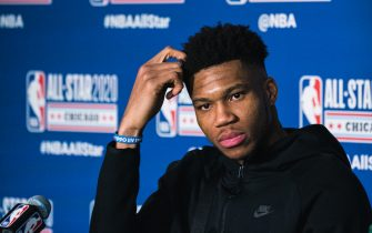 CHICAGO, ILLINOIS - FEBRUARY 16: Giannis Antetokounmpo of Team Giannis speaks to the media during the 69th NBA All-Star Game as part of 2020 NBA All-Star Weekend on February 16, 2020 at United Center in Chicago, Illinois. (Photo by Lampson Yip - Clicks Images/Getty Images)