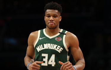 WASHINGTON, DC - FEBRUARY 24: Giannis Antetokounmpo #34 of the Milwaukee Bucks looks on against the Washington Wizards during the first half at Capital One Arena on February 24, 2020 in Washington, DC. NOTE TO USER: User expressly acknowledges and agrees that, by downloading and or using this photograph, User is consenting to the terms and conditions of the Getty Images License Agreement. (Photo by Patrick Smith/Getty Images)