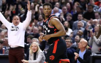 TORONTO, ON - FEBRUARY 28:  Kyle Lowry #7 of the Toronto Raptors looks on after sinking a 3 pointer late in the second half of an NBA game against the Charlotte Hornets at Scotiabank Arena on February 28, 2020 in Toronto, Canada.  NOTE TO USER: User expressly acknowledges and agrees that, by downloading and or using this photograph, User is consenting to the terms and conditions of the Getty Images License Agreement.  (Photo by Vaughn Ridley/Getty Images)