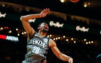 ATLANTA, GA - FEBRUARY 28: Spencer Dinwiddie #26 of the Brooklyn Nets dunks during the second half of an NBA game against the Atlanta Hawks at State Farm Arena on February 28, 2020 in Atlanta, Georgia. NOTE TO USER: User expressly acknowledges and agrees that, by downloading and/or using this photograph, user is consenting to the terms and conditions of the Getty Images License Agreement. (Photo by Todd Kirkland/Getty Images) *** Local Caption *** Spencer Dinwiddie