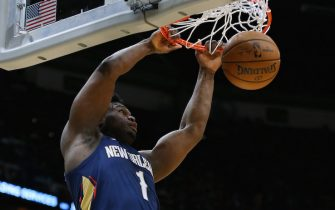 NEW ORLEANS, LOUISIANA - FEBRUARY 28: Zion Williamson #1 of the New Orleans Pelicans dunks against the Cleveland Cavaliers during the first half at the Smoothie King Center on February 28, 2020 in New Orleans, Louisiana. NOTE TO USER: User expressly acknowledges and agrees that, by downloading and or using this Photograph, user is consenting to the terms and conditions of the Getty Images License Agreement.  (Photo by Jonathan Bachman/Getty Images)