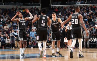 MEMPHIS, TN - FEBRUARY 28: The Sacramento Kings high five each other during the game against the Memphis Grizzlies on February 28, 2020 at FedExForum in Memphis, Tennessee. NOTE TO USER: User expressly acknowledges and agrees that, by downloading and or using this photograph, User is consenting to the terms and conditions of the Getty Images License Agreement. Mandatory Copyright Notice: Copyright 2020 NBAE (Photo by Joe Murphy/NBAE via Getty Images)