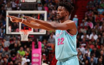 MIAMI, FL - FEBRUARY 28: Jimmy Butler #22 of the Miami Heat looks on during the game against the Dallas Mavericks on February 28, 2020 at American Airlines Arena in Miami, Florida. NOTE TO USER: User expressly acknowledges and agrees that, by downloading and or using this Photograph, user is consenting to the terms and conditions of the Getty Images License Agreement. Mandatory Copyright Notice: Copyright 2020 NBAE (Photo by Issac Baldizon/NBAE via Getty Images)