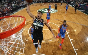 MILWAUKEE, WI - FEBRUARY 28: Giannis Antetokounmpo #34 of the Milwaukee Bucks dunks the ball against the Oklahoma City Thunder on February 28, 2020 at the Fiserv Forum Center in Milwaukee, Wisconsin. NOTE TO USER: User expressly acknowledges and agrees that, by downloading and or using this Photograph, user is consenting to the terms and conditions of the Getty Images License Agreement. Mandatory Copyright Notice: Copyright 2020 NBAE (Photo by Gary Dineen/NBAE via Getty Images).
