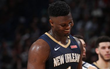 MEMPHIS, TN - JANUARY 31: Zion Williamson #1 of the New Orleans Pelicans smiles during the game against the Memphis Grizzlies on January 31, 2020 at FedExForum in Memphis, Tennessee. NOTE TO USER: User expressly acknowledges and agrees that, by downloading and or using this photograph, User is consenting to the terms and conditions of the Getty Images License Agreement. Mandatory Copyright Notice: Copyright 2020 NBAE (Photo by Joe Murphy/NBAE via Getty Images)