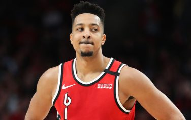 PORTLAND, OREGON - FEBRUARY 23: CJ McCollum #3 of the Portland Trail Blazers reacts in the third quarter against the Detroit Pistons during their game at Moda Center on February 23, 2020 in Portland, Oregon. NOTE TO USER: User expressly acknowledges and agrees that, by downloading and or using this photograph, User is consenting to the terms and conditions of the Getty Images License Agreement. (Photo by Abbie Parr/Getty Images)