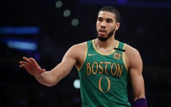 LOS ANGELES, CALIFORNIA - FEBRUARY 23: Jayson Tatum #0 of the Boston Celtics handles the ball during the game against the Los Angeles Lakers at Staples Center on February 23, 2020 in Los Angeles, California. (Photo by Katelyn Mulcahy/Getty Images)