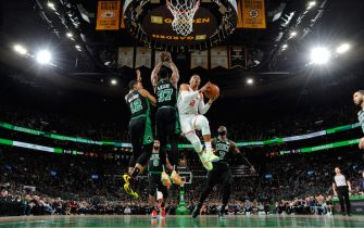 BOSTON, MA - FEBRUARY 29: Russell Westbrook #0 of the Houston Rockets drives to the basket during a game against the Boston Celtics on February 29, 2020 at the TD Garden in Boston, Massachusetts.  NOTE TO USER: User expressly acknowledges and agrees that, by downloading and or using this photograph, User is consenting to the terms and conditions of the Getty Images License Agreement. Mandatory Copyright Notice: Copyright 2020 NBAE  (Photo by Brian Babineau/NBAE via Getty Images)
