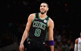 BOSTON, MA - FEBRUARY 29: Jayson Tatum #0 of the Boston Celtics smiles during a game against the Houston Rockets on February 29, 2020 at the TD Garden in Boston, Massachusetts.  NOTE TO USER: User expressly acknowledges and agrees that, by downloading and or using this photograph, User is consenting to the terms and conditions of the Getty Images License Agreement. Mandatory Copyright Notice: Copyright 2020 NBAE  (Photo by Brian Babineau/NBAE via Getty Images)