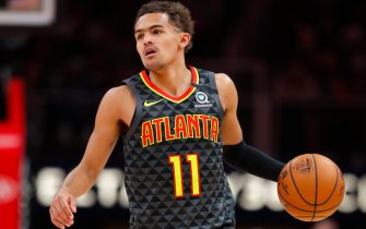 ATLANTA, GA - FEBRUARY 29: Trae Young #11 of the Atlanta Hawks controls the ball during the second half of an NBA game against the Portland Trail Blazers at State Farm Arena on February 29, 2020 in Atlanta, Georgia. NOTE TO USER: User expressly acknowledges and agrees that, by downloading and/or using this photograph, user is consenting to the terms and conditions of the Getty Images License Agreement. (Photo by Todd Kirkland/Getty Images) *** Local Caption *** Trae Young