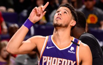 PHOENIX, AZ - FEBRUARY 29: Devin Booker #1 of the Phoenix Suns takes the floor during the game against the Golden State Warriors on February 29, 2020 at Talking Stick Resort Arena in Phoenix, Arizona. NOTE TO USER: User expressly acknowledges and agrees that, by downloading and or using this photograph, user is consenting to the terms and conditions of the Getty Images License Agreement. Mandatory Copyright Notice: Copyright 2020 NBAE (Photo by Barry Gossage/NBAE via Getty Images)