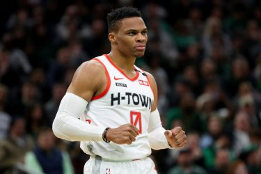 BOSTON, MASSACHUSETTS - FEBRUARY 29: Russell Westbrook #0 of the Houston Rockets celebrates during the second half of the game against the Boston Celtics at TD Garden on February 29, 2020 in Boston, Massachusetts. The Rockets defeat the Celtics 111-110 in overtime.  (Photo by Maddie Meyer/Getty Images)