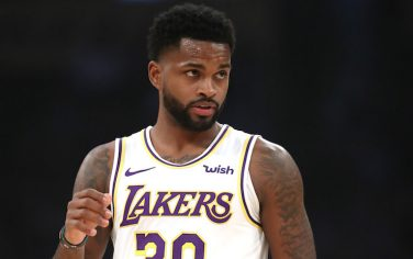 LOS ANGELES, CALIFORNIA - OCTOBER 27:  Troy Daniels #30 of the Los Angeles Lakers looks on during the first half of a game against the Charlotte Hornets at Staples Center on October 27, 2019 in Los Angeles, California. (Photo by Sean M. Haffey/Getty Images)
