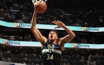 CHARLOTTE, NC - MARCH 1: Giannis Antetokounmpo #34 of the Milwaukee Bucks shoots the ball against the Charlotte Hornets on March 1, 2020 at Spectrum Center in Charlotte, North Carolina. NOTE TO USER: User expressly acknowledges and agrees that, by downloading and or using this photograph, User is consenting to the terms and conditions of the Getty Images License Agreement. Mandatory Copyright Notice: Copyright 2020 NBAE (Photo by Kent Smith/NBAE via Getty Images)