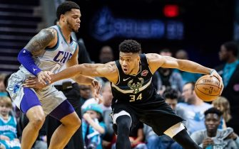 CHARLOTTE, NORTH CAROLINA - MARCH 01: Giannis Antetokounmpo #34 of the Milwaukee Bucks with the ball during the second quarter during their game against the Charlotte Hornets at Spectrum Center on March 01, 2020 in Charlotte, North Carolina. NOTE TO USER: User expressly acknowledges and agrees that, by downloading and/or using this photograph, user is consenting to the terms and conditions of the Getty Images License Agreement. (Photo by Jacob Kupferman/Getty Images)