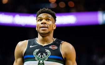 CHARLOTTE, NORTH CAROLINA - MARCH 01: Giannis Antetokounmpo #34 of the Milwaukee Bucks during the fourth quarter during their game against the Charlotte Hornets at Spectrum Center on March 01, 2020 in Charlotte, North Carolina. NOTE TO USER: User expressly acknowledges and agrees that, by downloading and/or using this photograph, user is consenting to the terms and conditions of the Getty Images License Agreement. (Photo by Jacob Kupferman/Getty Images)