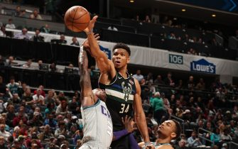 CHARLOTTE, NC - MARCH 1: Giannis Antetokounmpo #34 of the Milwaukee Bucks handles the ball against the Charlotte Hornets on March 1, 2020 at Spectrum Center in Charlotte, North Carolina. NOTE TO USER: User expressly acknowledges and agrees that, by downloading and or using this photograph, User is consenting to the terms and conditions of the Getty Images License Agreement. Mandatory Copyright Notice: Copyright 2020 NBAE (Photo by Kent Smith/NBAE via Getty Images)