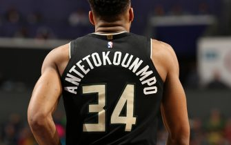 CHARLOTTE, NC - MARCH 1: Giannis Antetokounmpo #34 of the Milwaukee Bucks looks on during the game against the Charlotte Hornets on March 1, 2020 at Spectrum Center in Charlotte, North Carolina. NOTE TO USER: User expressly acknowledges and agrees that, by downloading and or using this photograph, User is consenting to the terms and conditions of the Getty Images License Agreement. Mandatory Copyright Notice: Copyright 2020 NBAE (Photo by Kent Smith/NBAE via Getty Images)