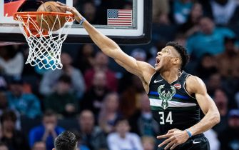 CHARLOTTE, NORTH CAROLINA - MARCH 01: Giannis Antetokounmpo #34 of the Milwaukee Bucks dunks the ball during the second quarter during their game against the Charlotte Hornets at Spectrum Center on March 01, 2020 in Charlotte, North Carolina. NOTE TO USER: User expressly acknowledges and agrees that, by downloading and/or using this photograph, user is consenting to the terms and conditions of the Getty Images License Agreement. (Photo by Jacob Kupferman/Getty Images)