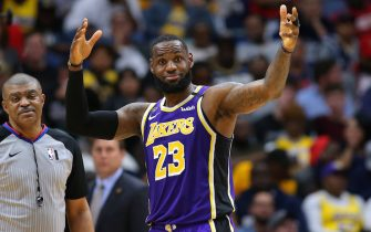 NEW ORLEANS, LOUISIANA - MARCH 01: LeBron James #23 of the Los Angeles Lakers reacts against the New Orleans Pelicans during the second half at the Smoothie King Center on March 01, 2020 in New Orleans, Louisiana. NOTE TO USER: User expressly acknowledges and agrees that, by downloading and or using this Photograph, user is consenting to the terms and conditions of the Getty Images License Agreement. (Photo by Jonathan Bachman/Getty Images)