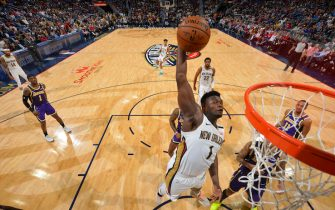 NEW ORLEANS, LA - MARCH 1: Zion Williamson #1 of the New Orleans Pelicans dunks the ball against the Los Angeles Lakers on March 1, 2020 at the Smoothie King Center in New Orleans, Louisiana. NOTE TO USER: User expressly acknowledges and agrees that, by downloading and or using this Photograph, user is consenting to the terms and conditions of the Getty Images License Agreement. Mandatory Copyright Notice: Copyright 2020 NBAE (Photo by Jesse D. Garrabrant/NBAE via Getty Images)