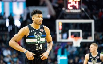 CHARLOTTE, NORTH CAROLINA - MARCH 01: Giannis Antetokounmpo #34 of the Milwaukee Bucks looks on before their game against the Charlotte Hornets at Spectrum Center on March 01, 2020 in Charlotte, North Carolina. NOTE TO USER: User expressly acknowledges and agrees that, by downloading and/or using this photograph, user is consenting to the terms and conditions of the Getty Images License Agreement. (Photo by Jacob Kupferman/Getty Images)