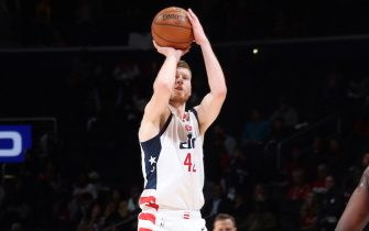 WASHINGTON, DC - FEBRUARY 3: Davis Bertans #42 of the Washington Wizards shoots a three point basket during the game against the Golden State Warriors on February 3, 2020 at Capital One Arena in Washington, DC. NOTE TO USER: User expressly acknowledges and agrees that, by downloading and or using this Photograph, user is consenting to the terms and conditions of the Getty Images License Agreement. Mandatory Copyright Notice: Copyright 2020 NBAE (Photo by Stephen Gosling/NBAE via Getty Images)