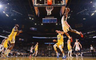 SAN FRANCISCO, CA - MARCH 1:  Bradley Beal #3 of the Washington Wizards dunks the ball against the Golden State Warriors on March 1, 2020 at Chase Center in San Francisco, California. NOTE TO USER: User expressly acknowledges and agrees that, by downloading and or using this photograph, user is consenting to the terms and conditions of Getty Images License Agreement. Mandatory Copyright Notice: Copyright 2020 NBAE (Photo by Noah Graham/NBAE via Getty Images)