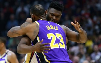 NEW ORLEANS, LOUISIANA - MARCH 01: Zion Williamson #1 of the New Orleans Pelicans as LeBron James #23 of the Los Angeles Lakers embrace before their game at the Smoothie King Center on March 01, 2020 in New Orleans, Louisiana. NOTE TO USER: User expressly acknowledges and agrees that, by downloading and or using this Photograph, user is consenting to the terms and conditions of the Getty Images License Agreement. (Photo by Jonathan Bachman/Getty Images)