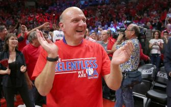 LOS ANGELES, CA - MAY 02:  Owner Steve Ballmer of the Los Angeles Clippers celebrates after the Clippers defeated the San Antonio Spurs in Game Seven of the Western Conference quarterfinals of the 2015 NBA Playoffs at Staples Center on May 2, 2015 in Los Angeles, California.  The Clippers won 111-109 to win the series four games to three.  NOTE TO USER: User expressly acknowledges and agrees that, by downloading and or using this photograph, User is consenting to the terms and conditions of the Getty Images License Agreement.  (Photo by Stephen Dunn/Getty Images)