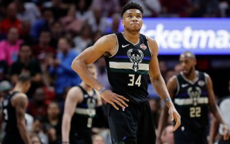 MIAMI, FLORIDA - MARCH 02:  Giannis Antetokounmpo #34 of the Milwaukee Bucks reacts against the Miami Heat during the second half at American Airlines Arena on March 02, 2020 in Miami, Florida. NOTE TO USER: User expressly acknowledges and agrees that, by downloading and/or using this photograph, user is consenting to the terms and conditions of the Getty Images License Agreement.  (Photo by Michael Reaves/Getty Images)