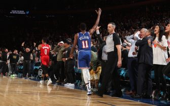 NEW YORK, NY - MARCH 2: Frank Ntilikina #11 of the New York Knicks reacts after a game against the Houston Rockets on March 2, 2020 at Madison Square Garden in New York City, New York.  NOTE TO USER: User expressly acknowledges and agrees that, by downloading and or using this photograph, User is consenting to the terms and conditions of the Getty Images License Agreement. Mandatory Copyright Notice: Copyright 2020 NBAE  (Photo by Nathaniel S. Butler/NBAE via Getty Images)