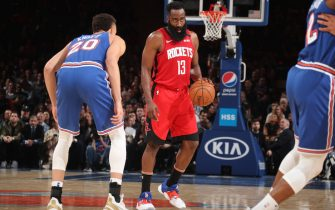 NEW YORK, NY - MARCH 2: James Harden #13 of the Houston Rockets handles the ball against the New York Knicks on March 2, 2020 at Madison Square Garden in New York City, New York.  NOTE TO USER: User expressly acknowledges and agrees that, by downloading and or using this photograph, User is consenting to the terms and conditions of the Getty Images License Agreement. Mandatory Copyright Notice: Copyright 2020 NBAE  (Photo by Nathaniel S. Butler/NBAE via Getty Images)