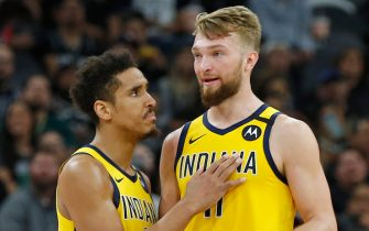 SAN ANTONIO, TX - MARCH 02:  Malcolm Brogdon #7 of the Indiana Pacers talks with Domantas Sabonis #11 late in the second half action at AT&T Center on March 02, 2020 in San Antonio, Texas. The Indiana Pacers defeated the San Antonio Spurs 116-111. NOTE TO USER: User expressly acknowledges and agrees that , by downloading and or using this photograph, User is consenting to the terms and conditions of the Getty Images License Agreement. (Photo by Ronald Cortes/Getty Images)