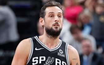 INDIANAPOLIS, IN - NOVEMBER 23: Marco Belinelli #18 of the San Antonio Spurs looks on against the Indiana Pacers during the game at Bankers Life Fieldhouse on November 23, 2018 in Indianapolis, Indiana. NOTE TO USER: User expressly acknowledges and agrees that, by downloading and or using the photograph, User is consenting to the terms and conditions of the Getty Images License Agreement. (Photo by Joe Robbins/Getty Images)