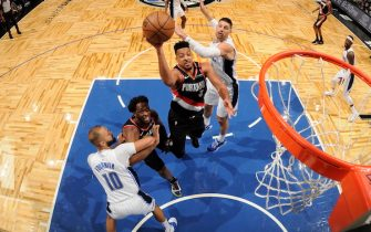 ORLANDO, FL - MARCH 2: CJ McCollum #3 of the Portland Trail Blazers shoots the ball against the Orlando Magic on March 2, 2020 at Amway Center in Orlando, Florida. NOTE TO USER: User expressly acknowledges and agrees that, by downloading and or using this photograph, User is consenting to the terms and conditions of the Getty Images License Agreement. Mandatory Copyright Notice: Copyright 2020 NBAE (Photo by Fernando Medina/NBAE via Getty Images)