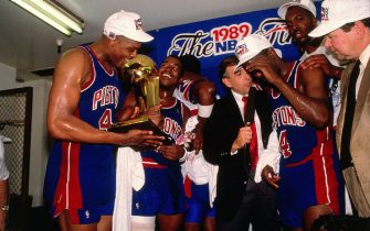 AUBURN HILLS, MI - JUNE 13: Rick Mahorn #4 of the Detroit Pistons celebrates with his teamates in the locker room after winning the 1989 NBA Finals against the Los Angeles Lakers at the Palace of Auburn Hills in Auburn Hills, MI. NOTE TO USER: User expressly acknowledges and agrees that, by downloading and or using this photograph, User is consenting to the terms and conditions of the Getty Images License Agreement. Mandatory Copyright Notice: Copyright 1989 NBAE (Photo by Nathaniel S. Butler/NBAE via Getty Images)