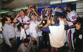 PORTLAND - JUNE 14:  The Detroit Pistons celebrate following Game Five of the 1990 NBA Finals on June 14, 1990 at the Memorial Coliseum in Portland, Oregon. The Detroit Pistons defeated the Portland Trail Blazers 4-1 to win the NBA Championship. NOTE TO USER: User expressly acknowledges and agrees that, by downloading and or using this photograph, User is consenting to the terms and conditions of the Getty Images License Agreement. Mandatory Copyright Notice: Copyright 1990 NBAE (Photo by Andrew D. Bernstein/NBAE via Getty Images)